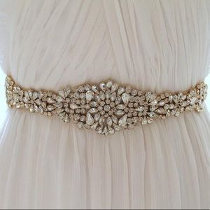 Accessories - Jewel Encrusted Handmade Bridal Belt with Sash
